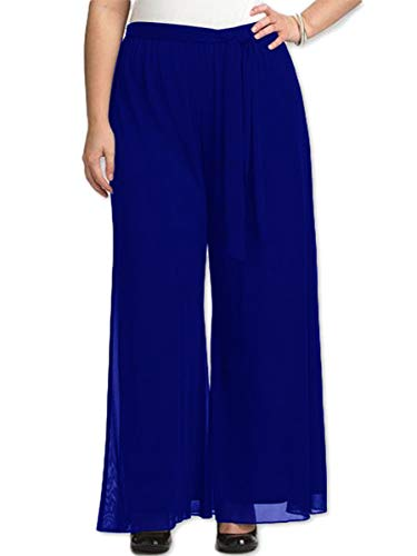 Red Dot Boutique 8006 - Plus Size Elastic Waistband Wide Legged Palazzo Pants (Size 1X - 4X) (3X, Blue)