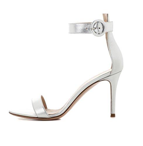 Stiletto alla caviglia Cinturino Sandali Edefs Open tacco Women Argento con Toe Shoes 8cm wcxfT6IqF