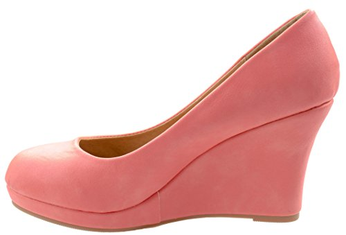Pumps Soap Women's Almond Coral Toe 1 Top Low Moda Wedge Classic On Slip Heel ESRgqxw7x