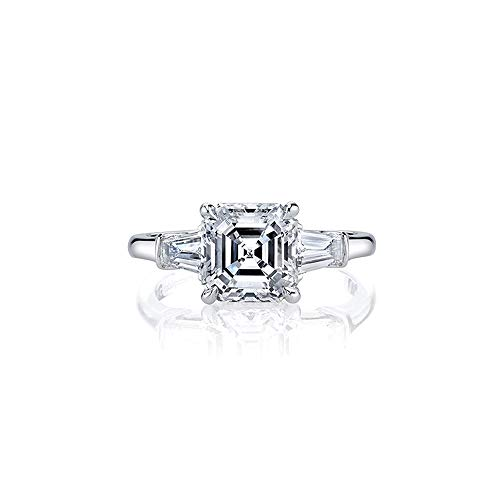 AINUOSHI Rhodium Plated 925 Sterling Silver Cubic Zirconia 3 Carats Asscher Cut CZ Baguette 3-Stone Engagement Ring for Women - Baguette Sterling Plated Silver
