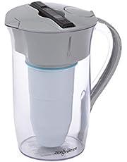 Ronde tafelwaterfilter, 1,9 liter, met gratis waterkwaliteitsmeter | BPA-vrij en gecertificeerd voor het verminderen van de hoeveelheid lood en andere zware metalen | inclusief waterfilterpatroon