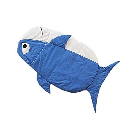 Skudy - Saco de dormir de invierno unisex para el aire libre, con forma de pez, para cochecito de bebé, diseño de rayas azul azul: Amazon.es: Bebé