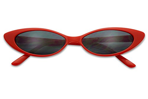Mini Vintage Retro Extra Narrow Oval Round Skinny Cat Eye Sun Glasses Clout Goggles (Red Frame | Black)]()