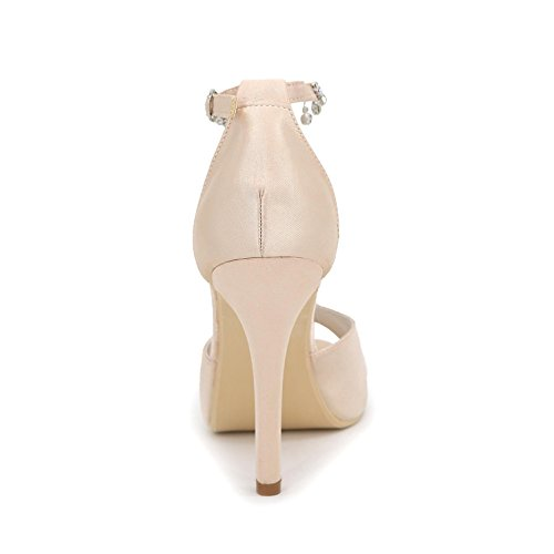 L@YC Tacones Para Mujer Spring / Fall Plataforma Stretch Satin Wedding / Dress TalóN De aguja Cristal / Pearl Marfil White