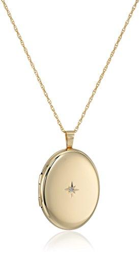 14k Gold-Filled Large Polished Oval Pendant with Genuine Diamond Locket Necklace, 30