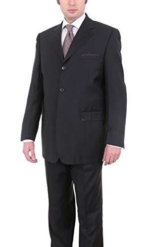Carlo Palazzi Classic Fit Black Striped Three Button Wool Suit Made in Italy