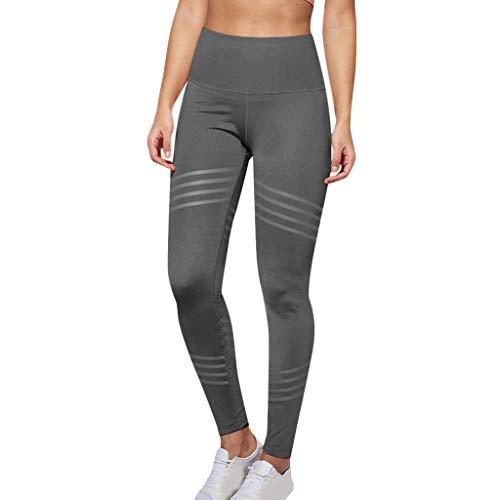 (Kangma Yoga Women's High Waist Leggings Tummy Control Workout Fitness Leisure Sports Short Pants Diagonal Stripes Gray)