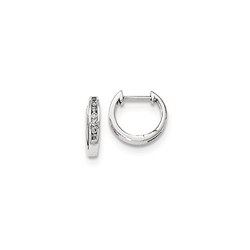Roy Rose Jewelry 14K White Gold Polished Diamond Hinged Hoop Earrings 1/8-Carat tw (Earring Polished White)