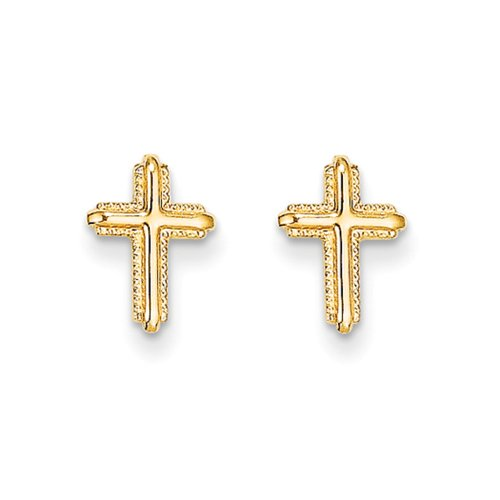 Children's 14k Yellow Gold 10mm Textured Cross Screw Back Earrings 14k Gold Textured Cross