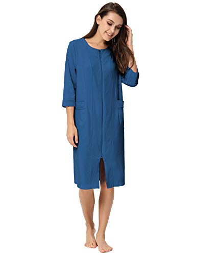 Women Long Robes Zipper Front House Coat with Pockets Loungewear Navy Blue S