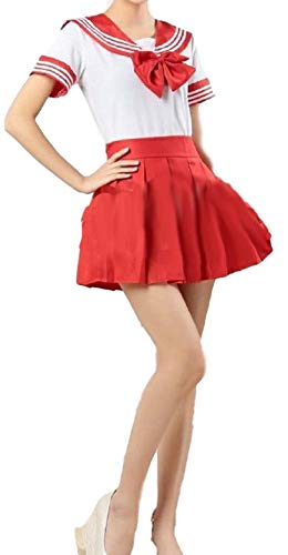 School Uniform Dress Cosplay Costume Japan Anime Girl Lady Lolita (US Size S) (Medium, Red)]()