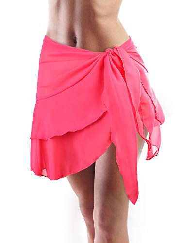 (Hestya Women Swimsuit Wrap Beach Wrap Chiffon Pareo Bikini Skirt Ruffle Sarong Wrap (Rose Red-Double Layer, 66.9 x 16.1 Inch))