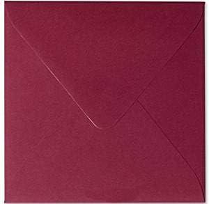Paper24 Lot de 100 enveloppes carr/ées et autocollantes Bordeaux 14 x 14 cm 140 x 140 mm