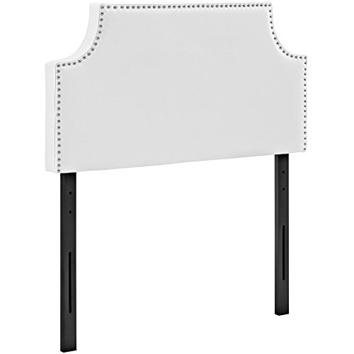 (Modway Laura Faux Leather Upholstered Twin Size Headboard with Cut-Out Edges and Nailhead Trim in White)