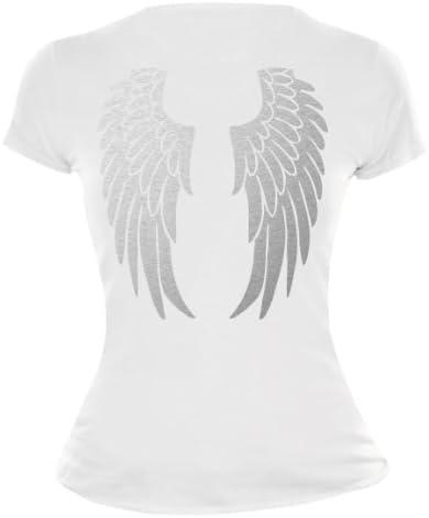 BuXsbaum® damska dziewczęca koszulka ze skrzydłami anioła, nadruk na plecach, karnawał, Halloween, zabawna koszulka: Odzież
