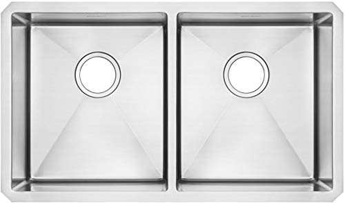 American Standard 18DB.9291800.075 Pekoe Undermount 29x18 Double Bowl Kitchen Sink with included drain and bottom grid, Stainless Steel American Standard Double Bowl Sink