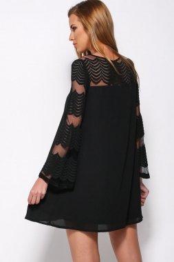 NEW Mesdames noir robe Swing à manches mini robe évasée Club Wear Soirée D'Été Robes Taille 10–12