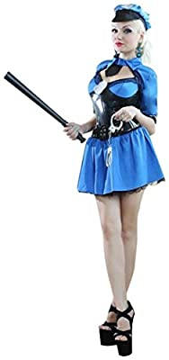 Deluxe Sexy Police Uniform Dress Halloween Costume Fancy Dress Outfit