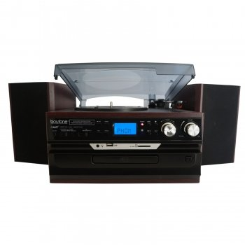 7-in-1 Boytone BT-21DJM-CDSP Full Size 3 Speed Turntable 33/45/78 Rpm, Belt Drive, CD, Cassette Player AM/FM/ USB/SD Slot, Aux Input. Encoding Vinyl & Radio & Cassette To-MP3.