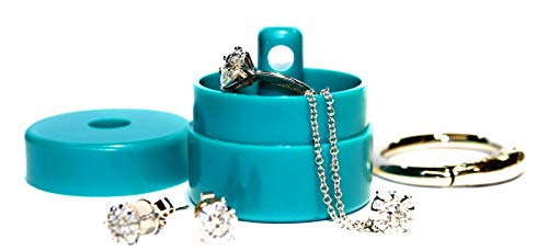 Lion Latch Jewelry Tote Pill Box Keychain Container Jewelry Box Case Storage (Turquoise)