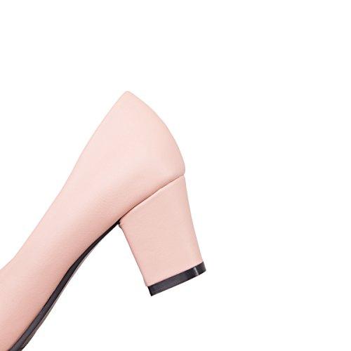 YE Damen Chunky Heels Pumps Rockabilly High Heels Geschlossen mit Schleife und 6cm Absatz Elegant Kleid Schuhe Rosa