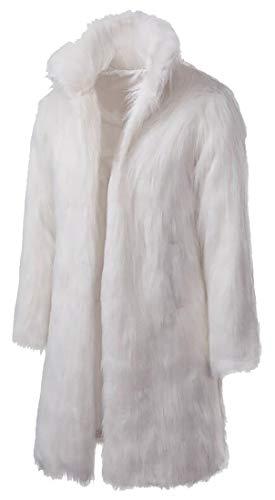 Beloved Men's Fashion Color-Block Short Fake Mink Coat Outfits Faux Fur Jacket White M
