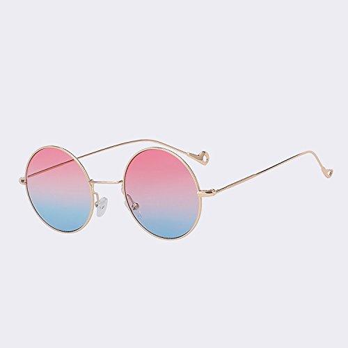 w UV400 sol sol TIANLIANG04 para mujeres mar de mujeres de de rojo Oro Gafas color gafas pink moda blue W de espalda gafas de Steampunk Vintage redonda mar Gold IIwFR