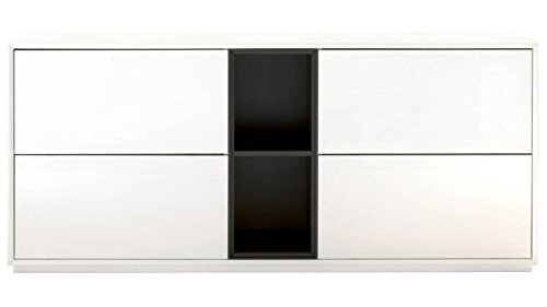 Ludo Buffet, High Gloss White with Matte Grey