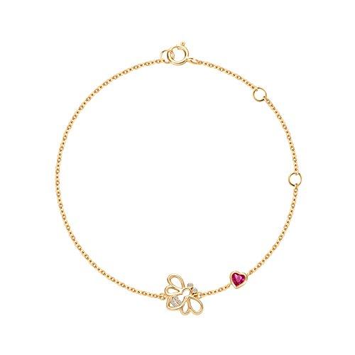Square Swarovski Rosary Bracelet - Carleen 14k Solid Yellow Gold CZ Cubic Zirconia Minimalist Dainty Bee Bracelet Delicate Fine Jewelry for Women Girls