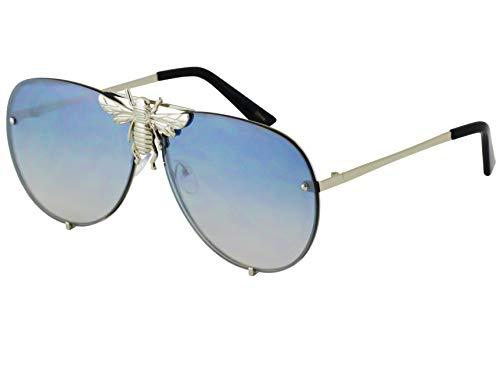 Flawless - Pilot Sunglasses Oversize Metal Frame Vintage Retro Men Women Shades (Silver ()