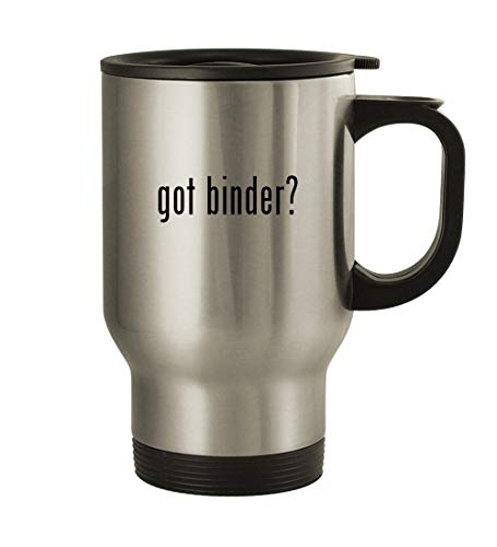got binder? - 14oz Stainless Steel Travel Mug, Silver (Pokemon Gold And Silver 2 In 1)