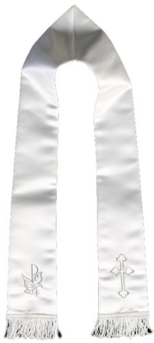 Satin Shawl with Silver Embroidery Christening Baptism Communion Blessing Church