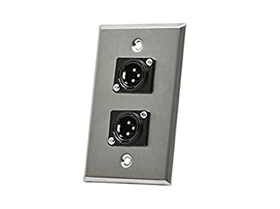 Monoprice 107398 XLR Male 3 -Pin Two-Port Zinc Alloy Wall Plate