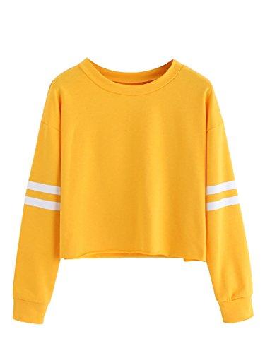 Lightweight Crewneck Sweatshirt (SweatyRocks Women's Striped Long Sleeve Crewneck Crop Top Sweatshirt Yellow S)