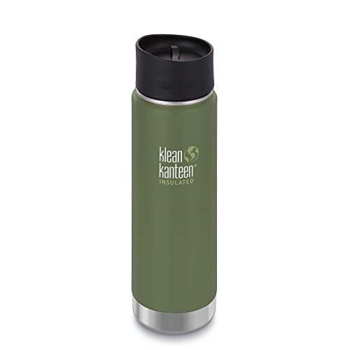 Klean Kanteen Insulated Wide Stainless Steel Coffee Mug with Café Cap 2.0, Vineyard Green , 20 oz
