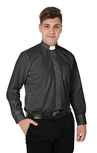 Ivyrobes Mens Tab-Collar Long Sleeves Clergy Shirt XX-Large Grey (Necksize 17