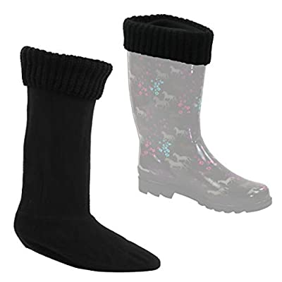 Snowy Magnolia Fleece Boot-liner With Knitted Cuff, 2-Pair at Women's Clothing store