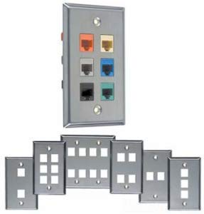 Allen Tel Products ATBKF-VT-3 Single Gang, 3 Ports Versatap Faceplate, Stainless Steel