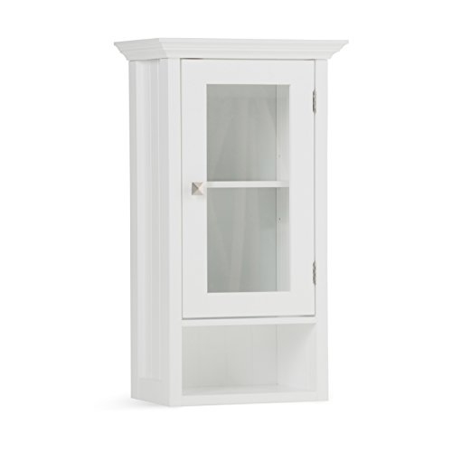 Simpli Home AXCBCACA-03 Acadian 28 inch H x 15.75 inch W Single Door Wall Bath Cabinet in White