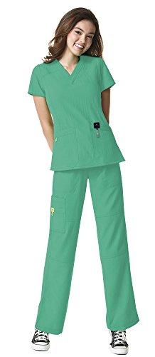 WonderWink Four-Stretch Women's Medical Uniforms Scrub Set Bundle- 6214 Sporty V-Neck Top & 5214 Elastic Waist Cargo Pant & MS Badge Reel (Surgical Green - X-Small/Small Petite) (Waist Scrub Uniform Green Elastic)