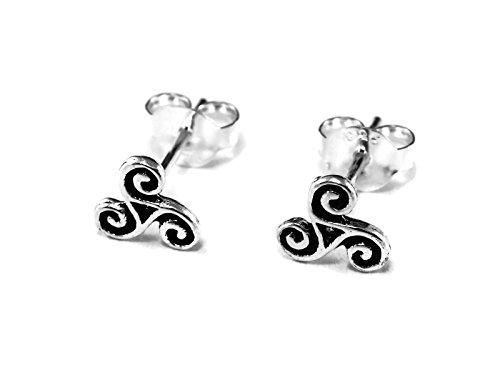 925 Sterling Silver Earring Cartilage For Women Ear Stud Helix Triple Spiral Swirl Triskele Triskelion 1/4 (6mm) Triple Swirl Earrings