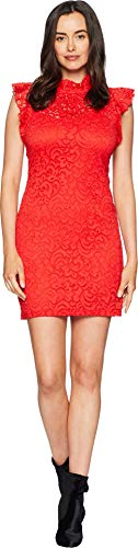 Alexia Admor Women's Cap Sleeve Lace Sheath Fiery Red Large
