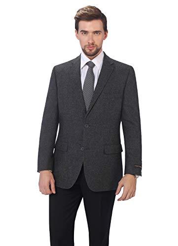 (P&L Men's Premium Wool Blend Business Blazer Dress Suit Jacket Charcoal)