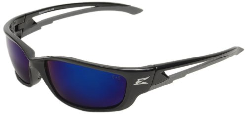 - Edge Eyewear SK-XL118 Kazbek XL Safety Glasses, Black with Blue Mirror Lens