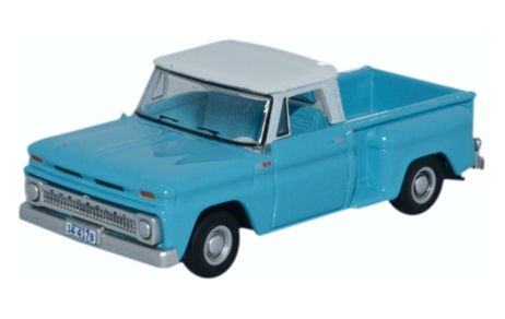 Oxford Diecast 87CP65001 1965 Chevrolet Stepside Pick Up light blue/white 1:87 HO Scale