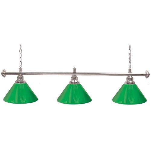 "Trademark Gameroom Green Three Shade Gameroom Lamp, 60"" (Silver Hardware)"
