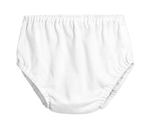 City Threads Baby Girls' and Baby Boys' Unisex Organic Diaper Covers Bloomers Soft Cotton, White, 18-24m