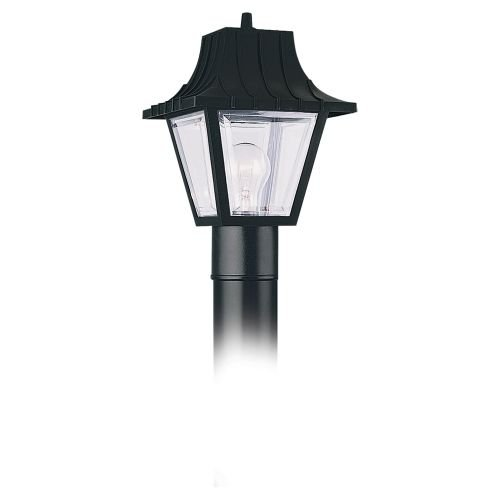 Sea Gull Lighting 8275-32 Single-Light Outdoor Post Lantern Top with Black, Clear Beveled Acrylic Panels