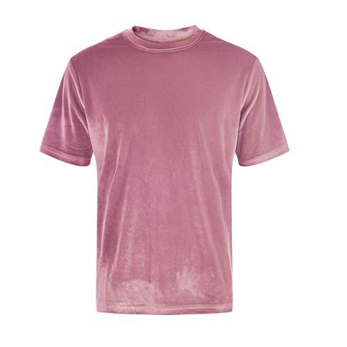 TOPUNDER Men Women Unisex Short Sleeve T-Shirt Crew Neck Tops Tee Shirts Streetwear Pink]()