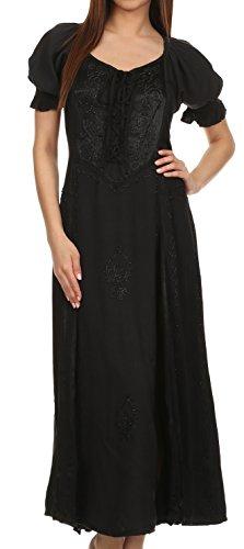 Sakkas 2100 Bridget Embroidered Renaissance Dress - Black - S/M